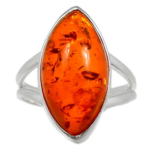Amber 925 Sterling Silver Ring Jewelry s.8 BR95406