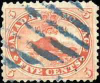 1859 Used Canada 5c F+ Scott #15 Beaver First Cents Stamp