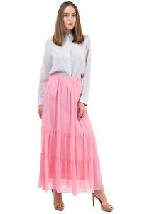 RRP €460 BLUGIRL FOLIES Maxi Flare Skirt Size IT 42 / S Tiered Made in Italy