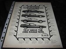 Lotus Esprit Series 3, Turbo, Excel S.E. 4 Seater advert, Bentley Turbo R Advert