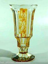 JOSEPHINENHÜTTE Überfang / Schliff-Glas Vase ° Dekor Siegfried Haertel um 1935