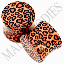 0194 Double Flare Acrylic Leopard Cheetah Print Saddle Ear Plugs 1/2 Inch 12.7mm