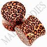 0194 Double Flare Acrylic Leopard Cheetah Print Saddle Ear Plugs 1/2 Inch 12.7mm