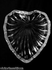 Collectible Leaded Crystal Heart Shaped Glass Teabag Caddy / Tea Bag Holder