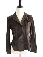 Brandon Thomas Womens Suede Leather Jacket Size S Collar Button Down Brown