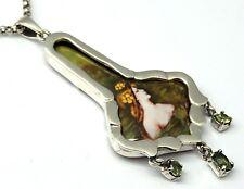 Olivin EMAILLE  Jugendstil Art Anhänger   925 Silber Art Nouveau Sterlingsilber
