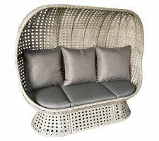 More details for rattan wicker cocoon double egg chair floor standing garden or indoors - grey