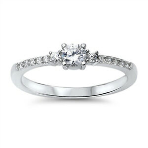 925 Sterling Silver AAA Grade Cubic Zirconia CZ Three Stone Ring With Pave Band