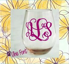 """Monogram Vinyl Decal for Your Wine Glass Personalized Initials Wedding Gift 2"""""""