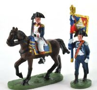 lead figure Soldier Napoleonic War Austerlitz Infantry Flag carrier+cavalry. D53
