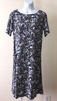 J. Jill Gray Blue Floral Print Dress with Pockets 4 Short Sleeve Tunic  Rayon
