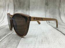 Men's 2019 Handcrafted Zebra Wood Frame Brown One Piece Polarized Sunglasses UV