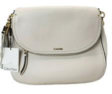 2d003dca4d2f Calvin Klein Lynn White Hobo Shoulder Bag Pebbled Leather Tassel Flap  Handbag
