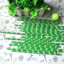 25pcs Creative Bamboo Paper Safari Panda Straws Birthday Wedding Party Straws