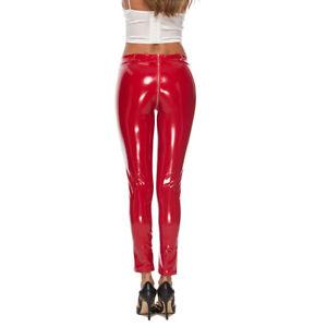 Ladies Trousers Wet Look Faux Leather Zip Up Skinny Pants Leggings M-4XL L2076