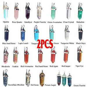 2xNatural Quartz Crystal Healing Point Chakra Cut Gemstone Pendant For Necklace