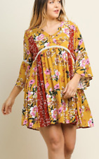 Umgee Plus Size Multi-Floral Print Bell Sleeve Dress with Button V-Neck XL