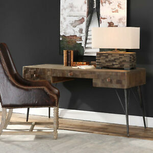 """59"""" w Luis Writing Desk recycled solid elm wood genuine leather pulls handmade"""
