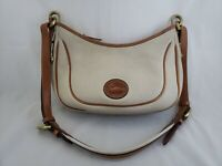 Vintage Dooney & Bourke Pebbled AWL Hobo Shoulder Bag Cream and British Tan VGC
