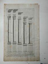 Antica incisione Vignola Regola dei 5 ordini d'Architettura Tavola III