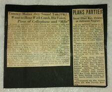 Vintage Old 1936 Newspaper Foley Artist Field Recording Movie SOUND EFFECTS Man