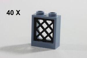 LEGO® Sand Blue Window 1 x 2 x 2 & Black Pane Lattice ID 60592 & 38320