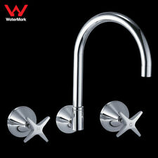 WELS Kitchen Laundry Danube Wall Sink Tap Set Brass Chrome Full Turn Swivel