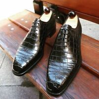 Men's Handmade Leather Shoes, Formal Crocodile Texture Leather Men Black Shoes