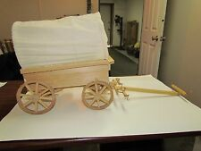 HAND CRAFTED MINIATURE COVERED CHUCK WAGON W/REMOVABLE BARREL AND LID