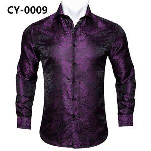 Men Shirt Dress Long Sleeve Fit Button Shirt Lot Red Blue Gold Paisley Floral XL