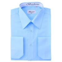 Berlioni Italy Men's Convertible Cuff Solid Italian French Dress Shirt Light Blu