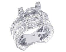 14K White Gold Real Princess Cut Diamond Semi Mount Engagement Ring 4 2/5CT 10MM