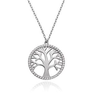 Kette Halskette Silber 925 Lebensbaum Swarovski Zirkonia rosegold Damen Mädchen