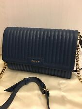 DKNY INK BLUE GANSEVOORT PINSTRIPE QUILTED SOFT LEATHER FLAP CROSSBODY CHAIN BAG