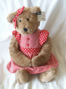 """New With Tags Debi Lilly Design Estelle Bear 12"""" Teddy Plush Red Striped Dress"""
