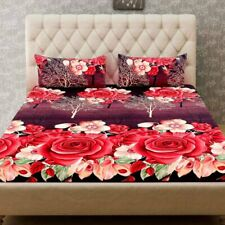 Microfiber Double BedSheet for Double Bed with 2 Pillow Covers Set 3D Floral