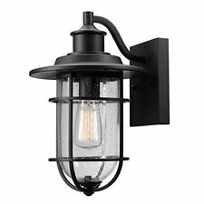 Globe Electric Turner 1-Light Outdoor Wall Sconce Black Finish Seeded Glass S...