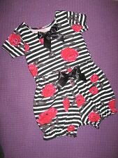 Baby Bloomers set Girls Black white red Roses T-shirt top Headband Gift holiday