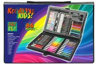 86pc Childrens/Kids Art Case Colour Paints Pencil Crayons Felt Tip Pens Set
