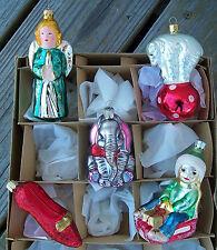 Lot of 5 Colorful Large & Jumbo FIGURAL Glass ORNAMENTS Christmas Tree  NR