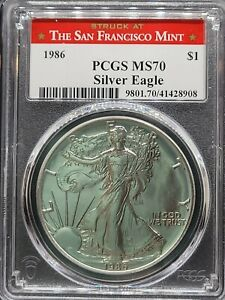 RARE San Francisco Mint 1986 American Silver Eagle S$1 PCGS MS70