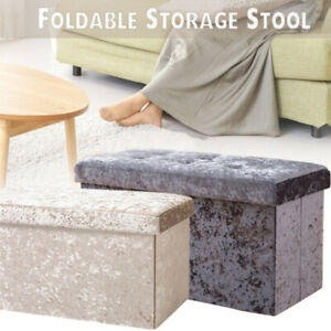 Large Velvet Ottoman 2 Seat Foldable Double Bed Storage Box Foot Stool Furniture