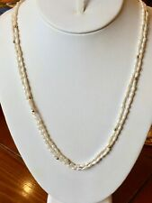 "2 Freshwater White Seed Pearl Strand Necklaces 32"" NEW Baroque gold plated beads"