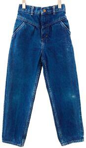 OshKosh Blue Jeans Girls 6x Vintage 90's Pleated High Waist Dark Denim Talon USA