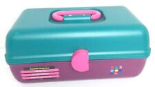 Vintage Caboodles Make Up Case Teal Purple Pink Train Case Sliding Trays