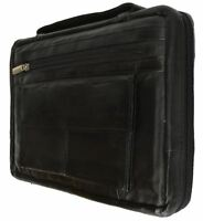 Black Genuine Leather Bible Organizer Book Cover Large Carrying Case New