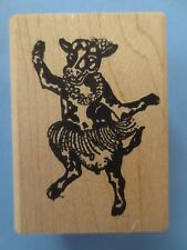 cow dancing animal wood mounted  rubber stamp