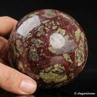 761g 79mm Large Natural Dragon Blood Stone Quartz Crystal Sphere Healing Ball