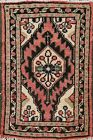 1x2 ft Semi-Antique Geometric Oriental Traditional Area Rug Hand-knotted Wool