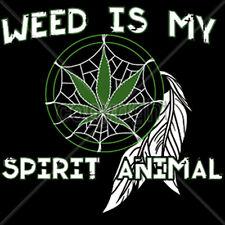 Weed Is My Spirit Animal Marijuana 420 Kush Dream Catcher Funny T-Shirt Tee
